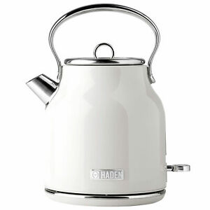 Haden Heritage 1.7 Liter Stainless Steel Body Retro Electric Tea Kettle, White