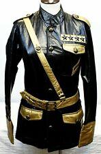 Lip Service Faux Leather Black Gold Military Jacket Sz S Police Uniform Gothic