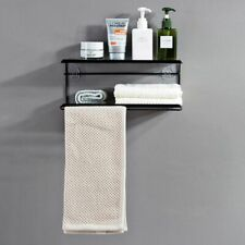 Iron Bathroom Storage Shelf Towel Hanger New Wall Mount Two Tiers Rack Organizer