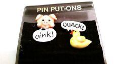 Enamel Figural Lapel Pins Pig Duck Oink Quack Vintage