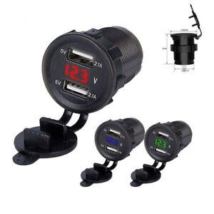 Dual USB 4.2A Car Cigarette Lighter Charger 12V/24V Digital Red LED Voltmeter