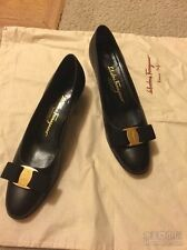 Women's Shoes SALVATORE FERRAGAMO BLACK VARA BOW PUMP 7.5A