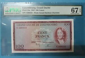1963 Luxembourg 100 Francs PMG67 EPQ <P-52a> SUPERB GEM UNC