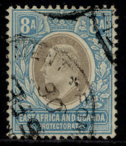 EAST AFRICA and UGANDA EDVII SG25, 8a grey & pale blue, FINE USED Cat £23 CHALKY