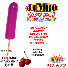 3 Pieces of Jumbo Cock Pops Fruit Flavor, 6 Big Inches, Cherry Flavored