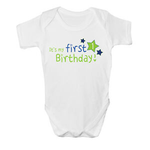 Its My First 1st Birthday Baby Vest Grow Clothes Bodysuit Top Size Boys Girls