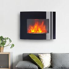 Homcom Cheminée Électrique murale Flamme LED avec Télécommande Noir