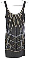 bisou bisou bodycon little black dress sz 4 mini slinky knit sequins geometric
