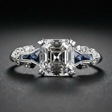 Men 925 Silver 2.45ct Blue Sapphire White CZ Wedding Engagement Rings Jewelry#7