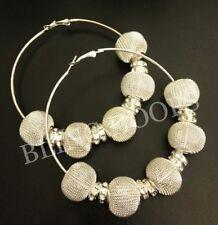 NEW Bling Hoops Silver Crystal Rhinestone Mesh Earrings Basketball Wives