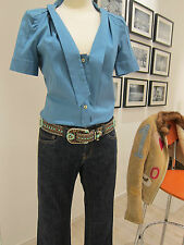 GUCCI Bluse Seide Gr. 36 türkisblau Gucci silk shirt sz 10 turquoise gold button
