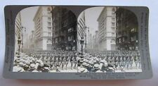 38,000 SOLDIER NEW YORK PARADE - WW1 STEREO CARD PHOTO