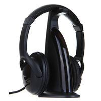 New 5 in 1 Wireless Headphone Earphone HIFI For MP3 MP4 PC TV CD FM Radio Black