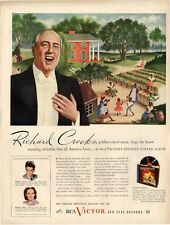 """1945 Victor Records Print Ad Richard Crooks Sings """"Stephen Foster"""""""