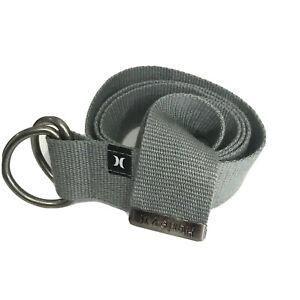 "Hurley Gray Roll Belt Mens One Size Embossed Logo Silver Hardware 43"" Length"