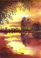 ACEO sunset river trees reflections landscape original painting art card