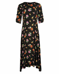 Oliver Bonas Tapestry Floral Midi Dress, Black Size 12 New Without Tags RRP £75