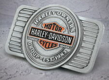 HOG HARLEY DAVIDSON OWNERS GROUP BELT BUCKLE MADE IN USA FREE STORAGE BAG