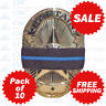 Pack of 10 Thin Blue Line Mourning Bands / Memorial Badge Ribbons FREE SHIPPING