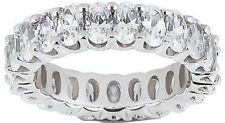3.82 ct Oval Diamond Ring 18k Gold Eternity Band F VS2 Size 6 0.19 ct each