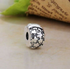 SILVER FLOWER BURST CLIP STOPPER CHARM BEAD FOR BRACELET OR NECKLACE