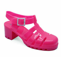 WOMENS PINK CHUNKY HEEL PLATFORM JELLY HOLIDAY SANDALS PUMPS SHOES SIZES 3-8