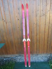 """Great Old 74"""" Wooden Skis With Original Red and Blue Finish and Bindings"""