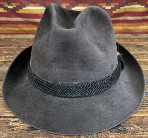 VTG Dobbs Fifth Avenue Soft Wool Felt Slate Gray Feathers Fedora Hat 7 1/4