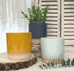 Ceramic Plant Pot Rustic Round Indoor Garden Planter Flower Herb Wedding Table