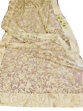 New Soft Gold Net Saree Sequins Embroidery Party Lace Wedding Designer Blouse