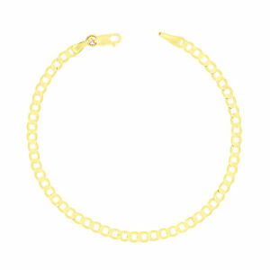 """Real 10K Yellow Gold 3.5mm Womens Cuban Link Curb Chain Bracelet Anklet 7"""" 8"""" 9"""""""