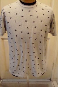 Disney Mickey Mouse All Over Print Gray T-Shirt  Large