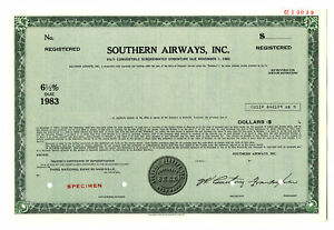 Southern Airways, Inc., 1970s $Odd Specimen 6.5% Registered Convertible Bond