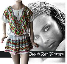 Vintage 1970's Tribal Drop Waist Hippy Mini Caftan Cream Hippy Indian Dress UK10