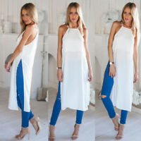 Womens Boho Long Maxi Skirt Summer Holiday Casual Beach Dresses Sundress Blouse