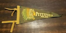1950's Felt Travel Pennant Pittsfield Massachusetts American Indian Mohawk Trail