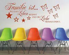 X171 Wandtattoo Spruch  Familie wo das Leben beginnt und die Liebe Wandaufkleber