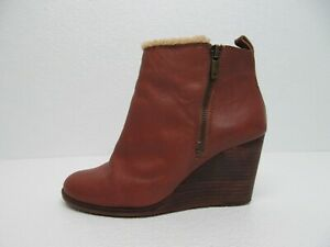 Lucky Brand Tan Leather Wedge Ankle Boots Faux Fur Trim Size Women's 7M/37