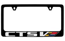 Cadillac CTS V-Series Logo Black Coated Metal License Plate Frame Holder