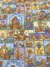 Lavendar And Lace Teddy Bears Cotton Fabric Teresa Kogut Quilt Sew OOP .5 Yards