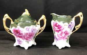 Hand-Painted Porcelain Antique Style sugar/creamer Cranberry Roses Gold Trim
