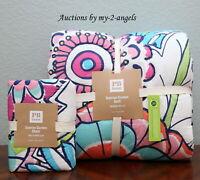 Pottery Barn PB Teen SUNRISE GARDEN Twin XL Quilt + Sham *Bold Vibrant Colors