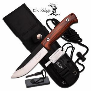 "Elk Ridge Bushcraft 10.5"" Fixed Blade Knife Fire Rod Sharpener Sheath ER-555PW"
