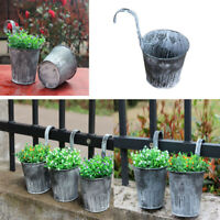 Flower Pot Hanging Balcony Garden Fence Plant Metal Iron Planter Garden Decor UK