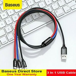 Baesus 3 in 1 USB For iPhone Type C Micro Charging Cable Charger Cord Data Line