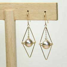 Rhombus Geometric Chandelier Earrings | 7.5mm AAA Purple Freshwater Pearls | 18K