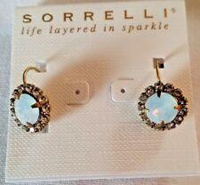NWT! MINT! SORRELLI Crystal Drop Leverback Pierced Earrings-Gold