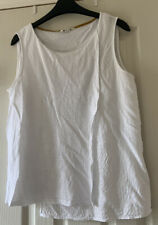 Size 14 White Sleeveless Wrap Style Top By White Stuff UGC