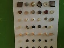 """20 NOS Freshwater Mother of Pearl Buttons on Handspun Wool Crafts Stash 3//8/"""""""