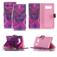Leather Wallet Phone Case Butterfly Soft Cover Stand for Samsung Galaxy Note 8